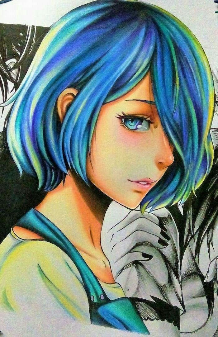 blue hair, colourful drawing, how to draw anime characters, girl drawing