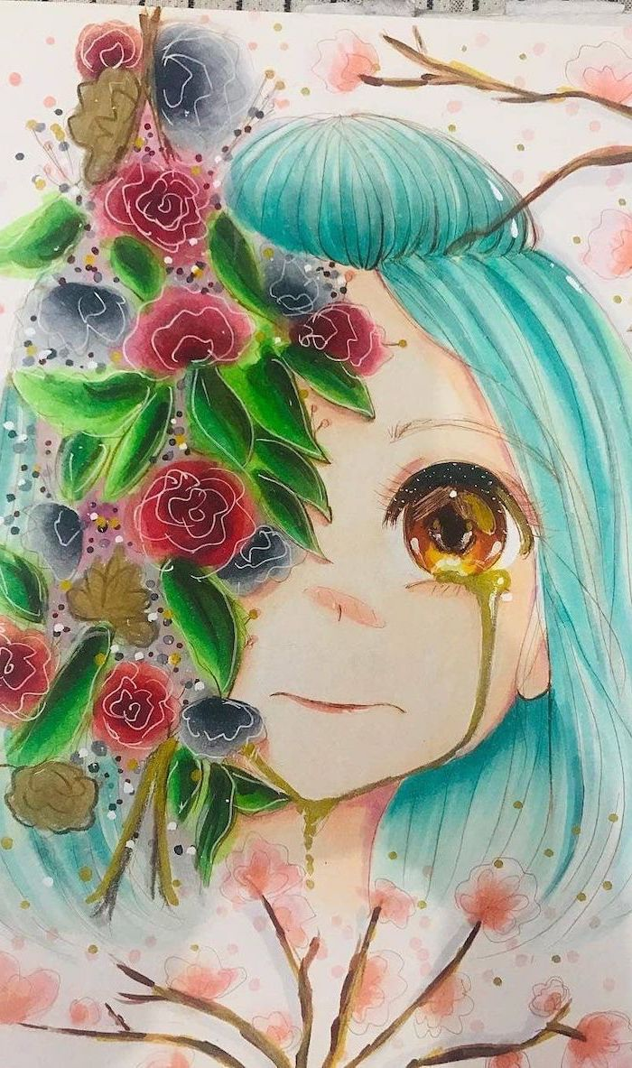 easy anime drawings, colourful drawing, flowers and girl, with blue hair