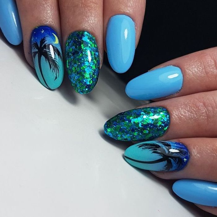 blue nail polish, blue and green glitter, black palm tree, cute nail designs, white background
