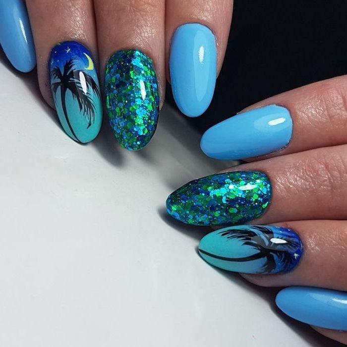 blue nail polish, blue and green glitter, black palm tree, cute nail designs, white background