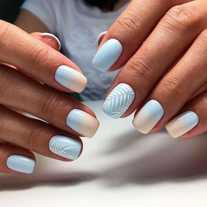 blue and nude ombre nail polish, white palm leaves, cute nail designs, white background