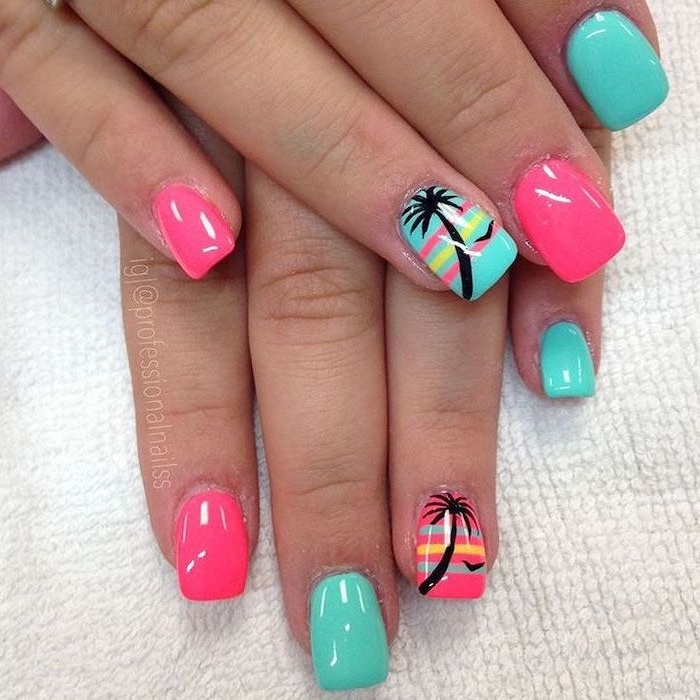 cute summer nails, pink and blue nail polish, black palm trees, white background