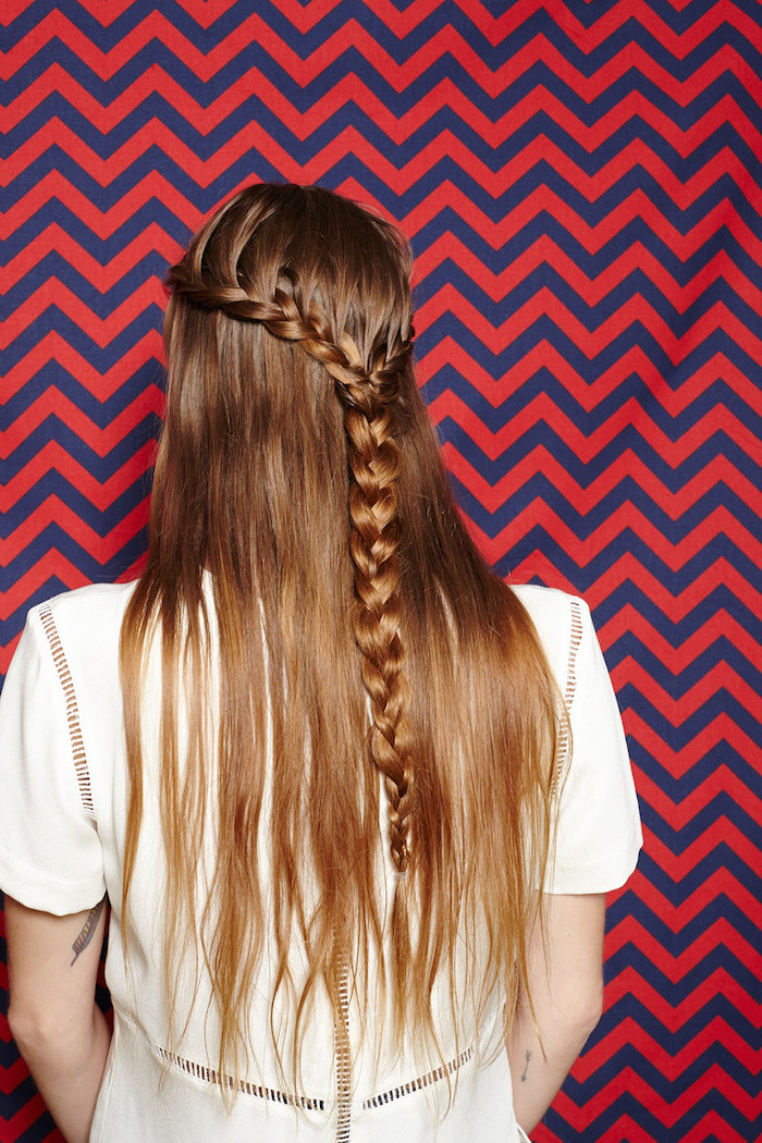 red and blue wallpaper, braid hairstyles with weave, brown hair, half up, half down, white dress