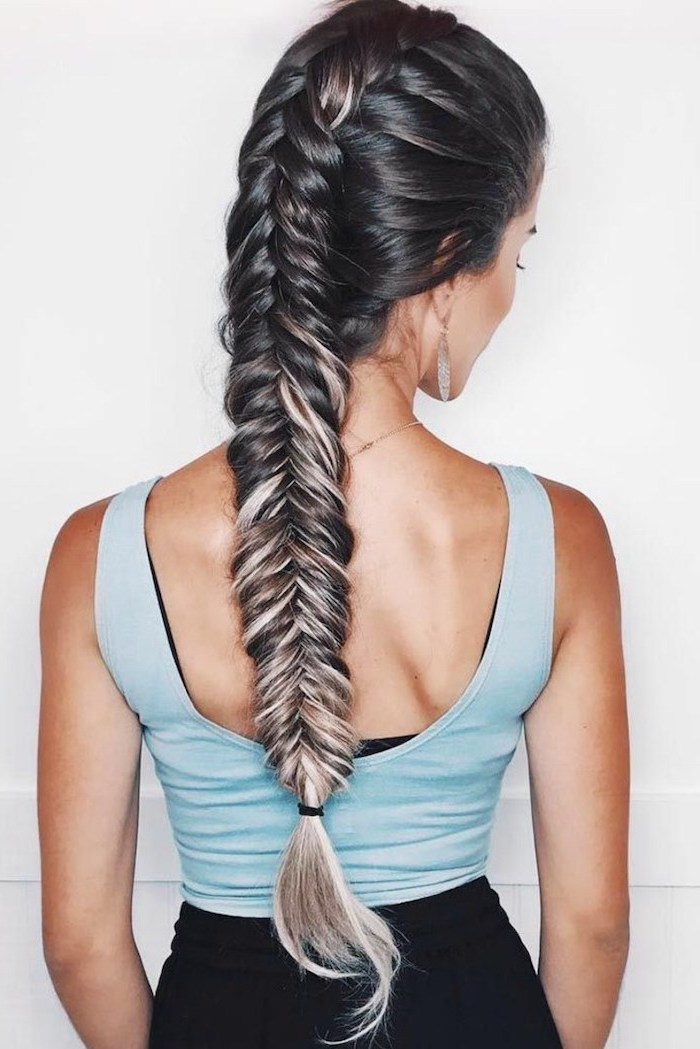 black hair, ash grey highlights, fishtail braid, blue top, white background, braid hairstyles with weave