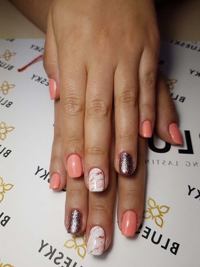 pink and glitter nail polish, pink and white, rose gold marble, cute summer nails, white background
