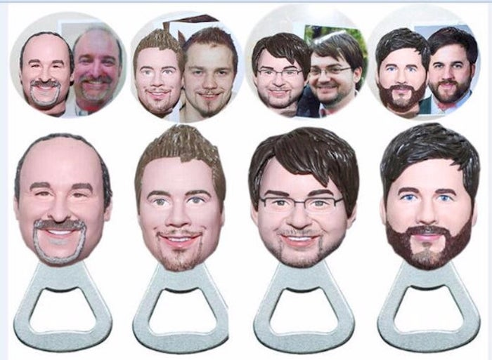 bottle openers, groomsmen gift box, personalised with the groomsmen faces
