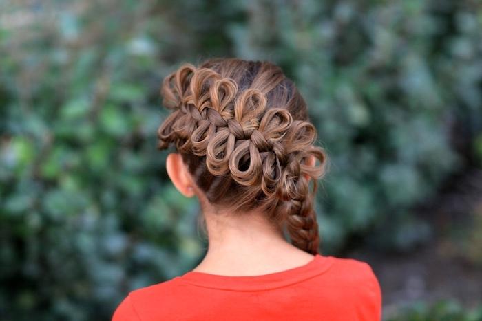 brown hair, box braids hairstyles, bows braid, red shirt, little girl, blurred background