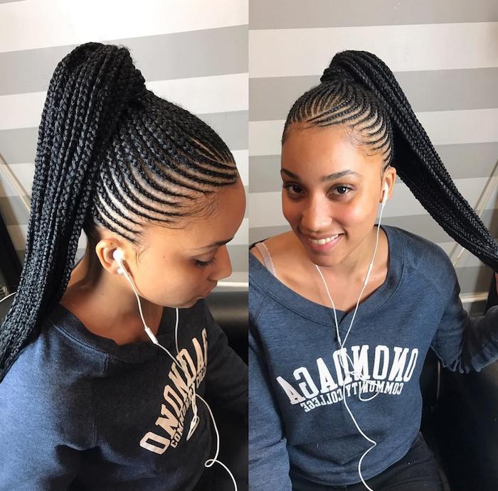 braided hair, in a ponytail, black hair, braid hairstyles with weave, blue sweatshirt