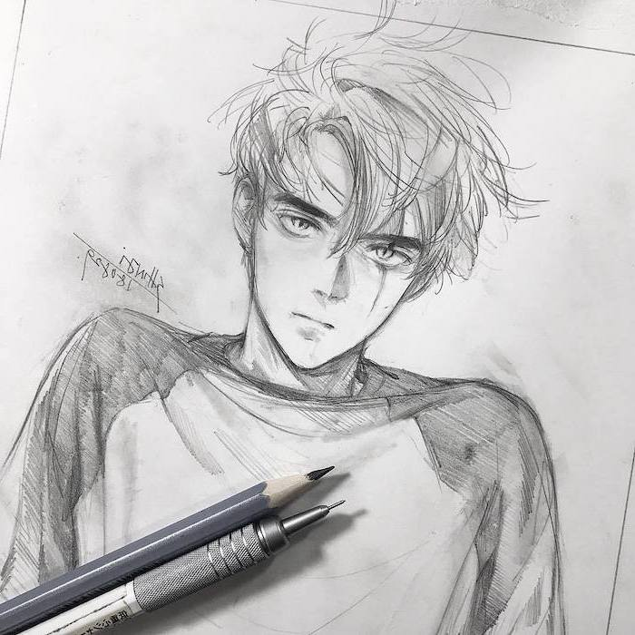 black and white, pencil sketch, how to draw anime characters, boy drawing