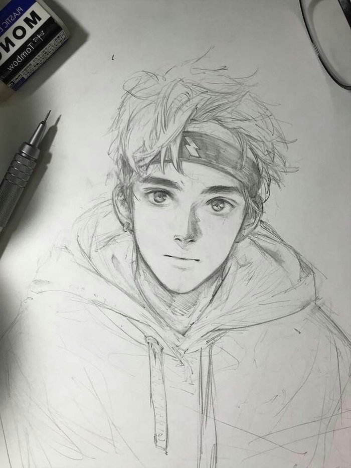 pencil sketch, how to draw anime characters, in black and white, boy drawing