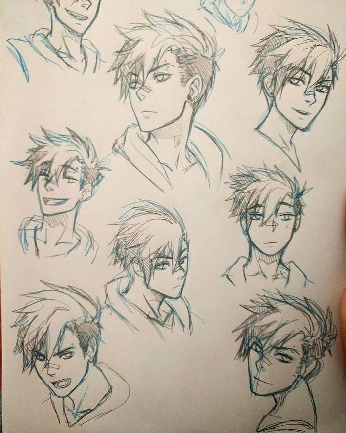 pencil sketches, different facial expressions, how to draw anime body, blue and graphite pencils