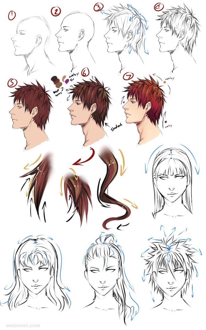 step by step tutorial, easy anime drawings, different hairstyles, pencil sketches