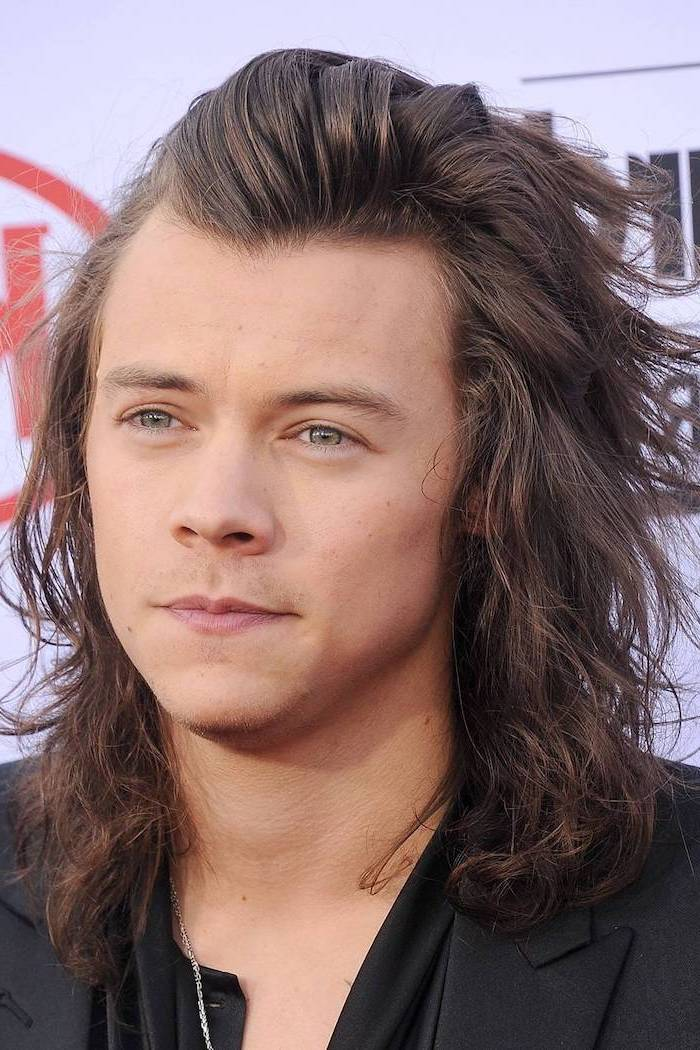 harry styles, long brown, curly hair, green eyes, black blazer, toddler boy haircut