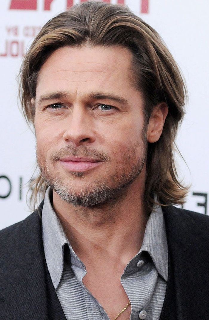 brad pitt, blonde hair, medium length, hairstyles for men, grey shirt, black blazer