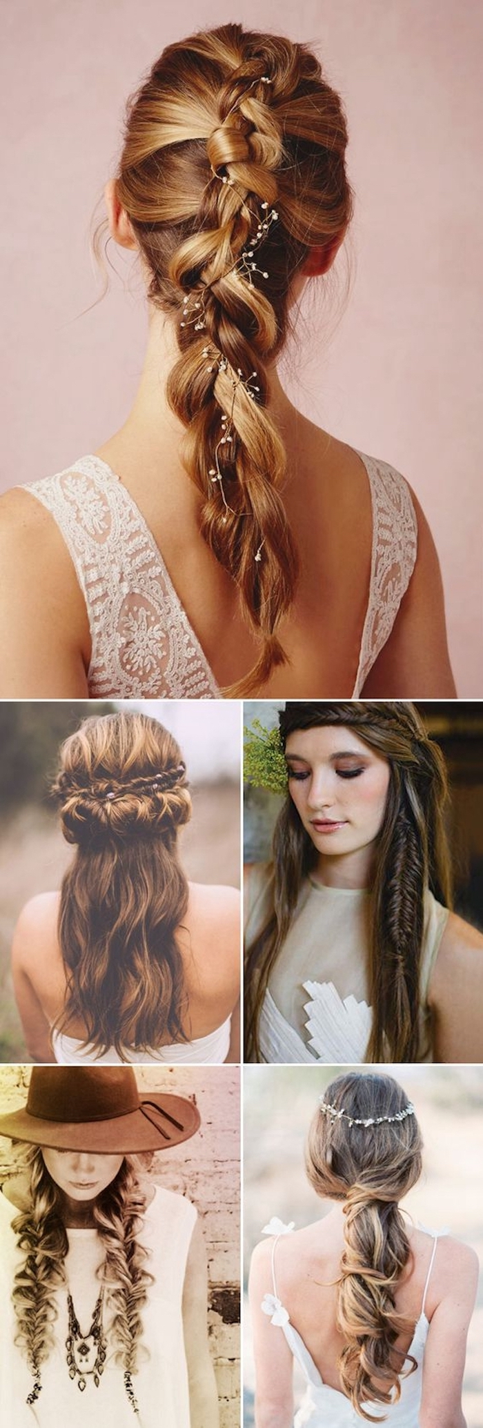 different hairstyles, blondes and brunettes, photo collage, box braids hairstyles, hair accessories