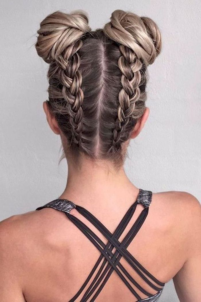 two upside down braids, two buns, braid hairstyles with weave, dark blonde hair, with highlights