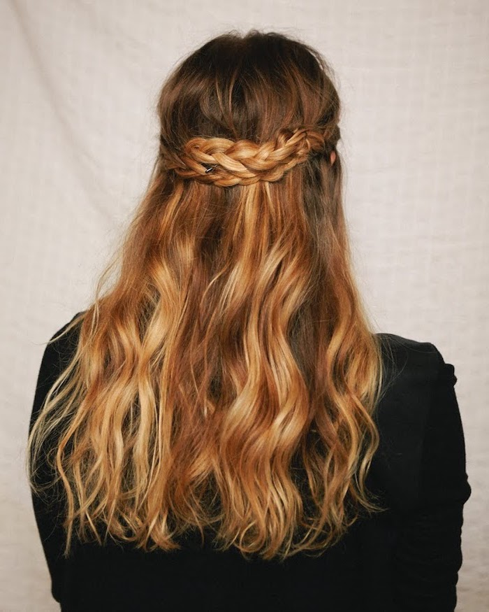 blonde hair, with highlights, two braids intertwined, black blouse, braided hairstyles for black women