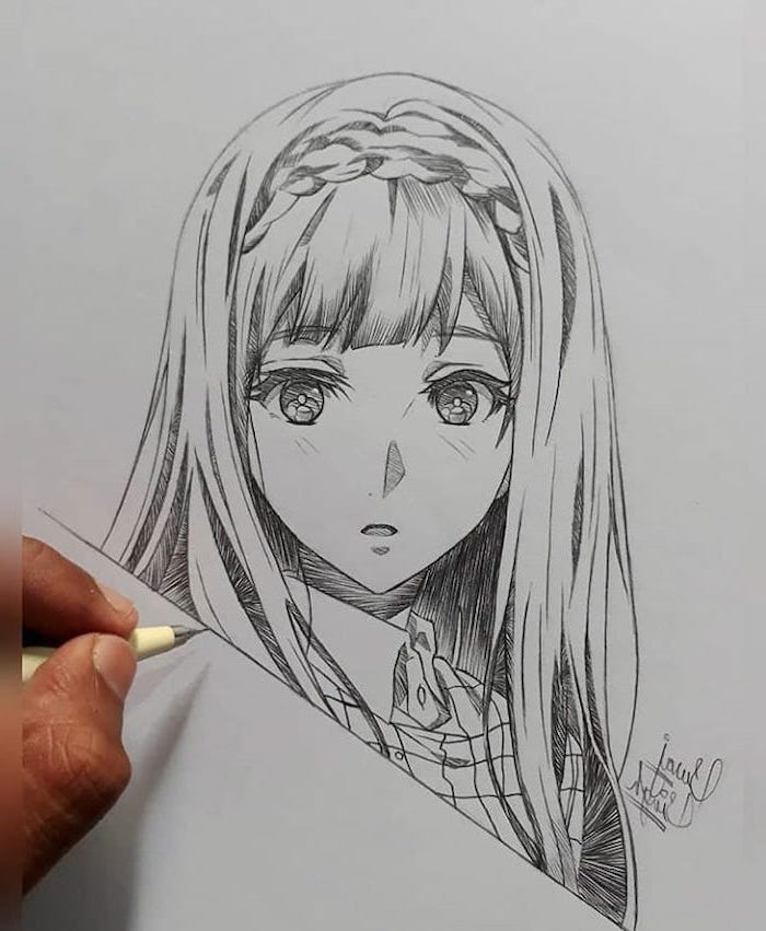 girl drawing, how to draw anime body, pencil sketch, in black and white, braided hair