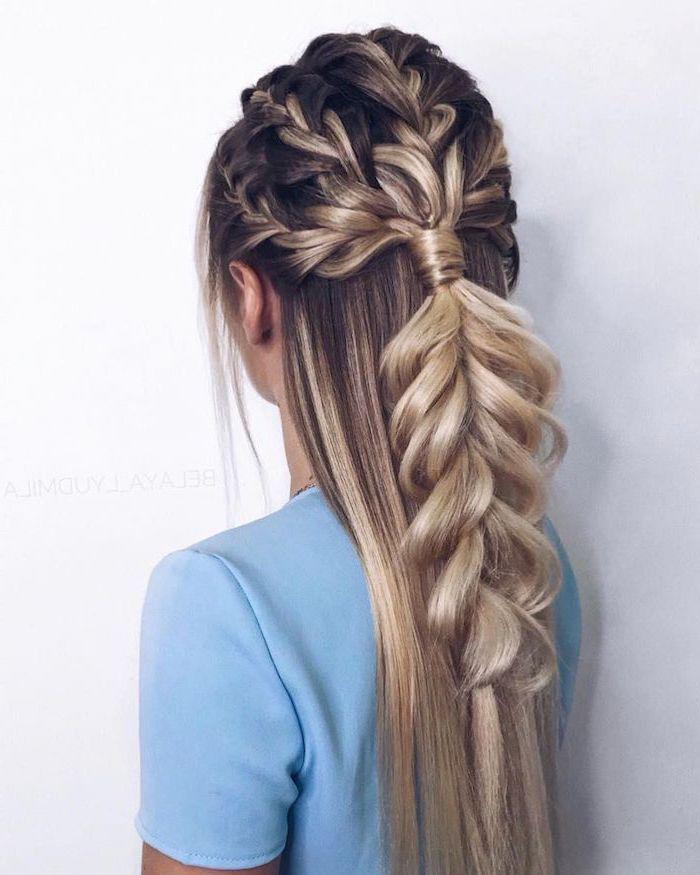 braided hairstyles for black women, brown hair, with highlights, four braids, blue shirt