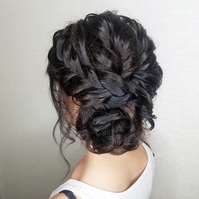 black hair, braided updo, braided hairstyles for black women, white background