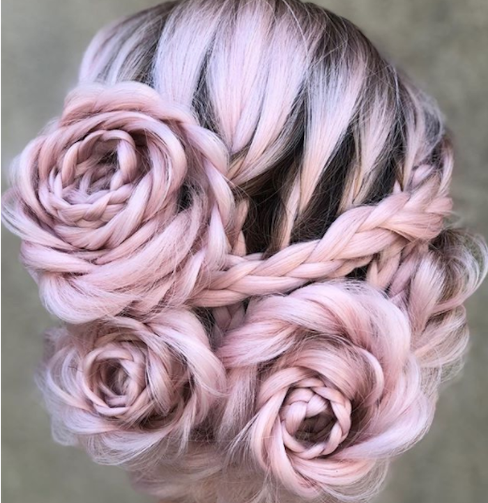 pink hair, braided in the shape of roses, braided updo, braided hairstyles for black women
