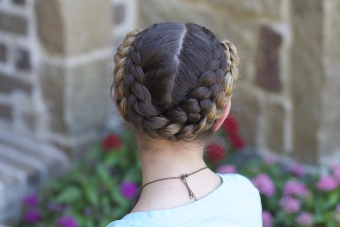 brown and blonde braids, black braided hairstyles, little girl, blue shirt