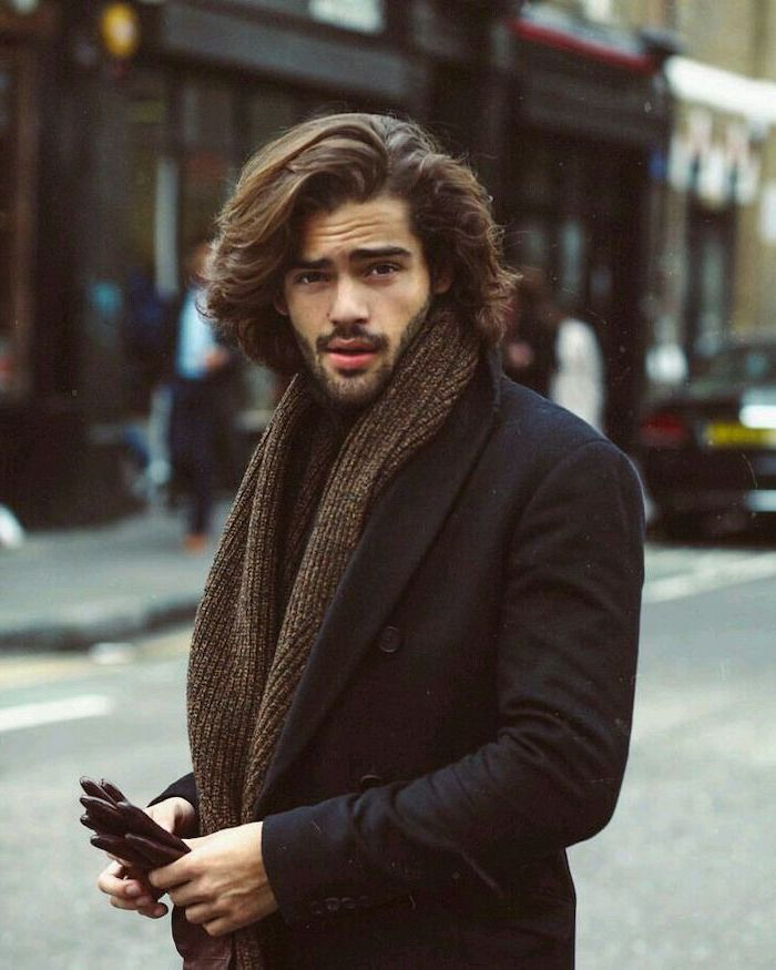 black coat, brown scarf, hair styles for men, black curly hair, leather gloves