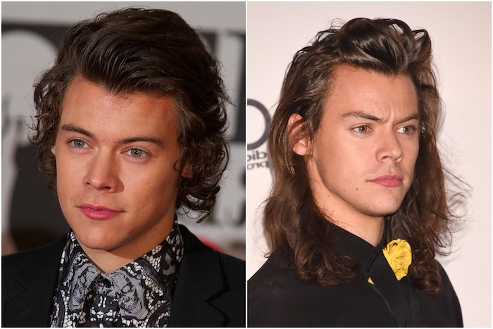 harry styles, brown curly hair, side by side photos, medium hairstyles for men