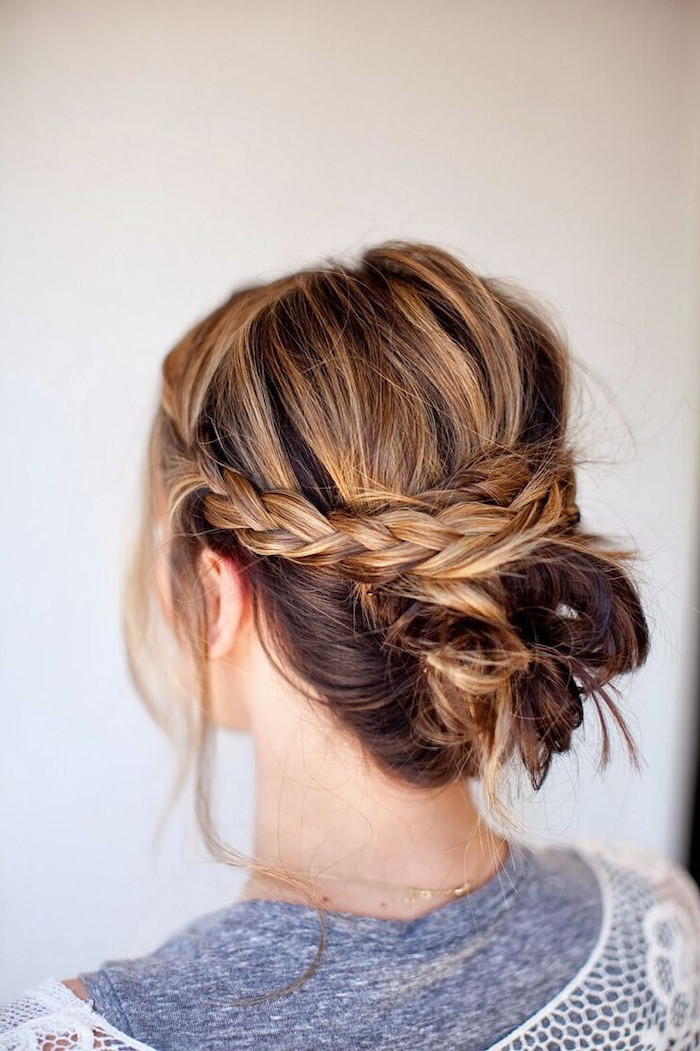 brown hair, blonde highlights, braided updo, black braided hairstyles, grey shirt, white background