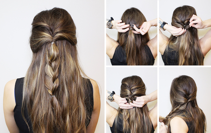 diy tutorial, step by step, brown hair, black braided hairstyles, half up, half down