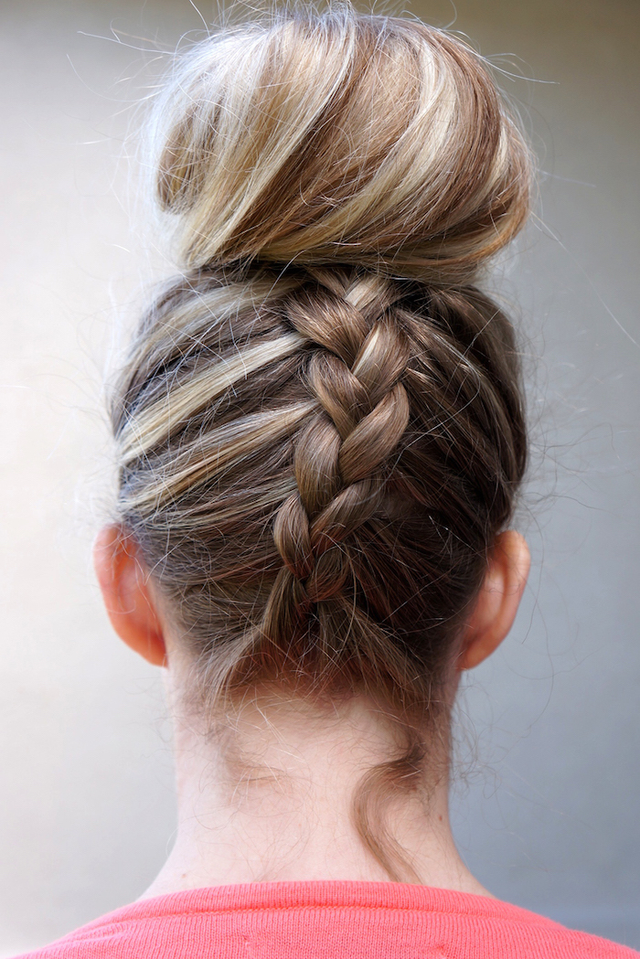 blonde hair, upside down braid, large bun, how to braid hair, red shirt