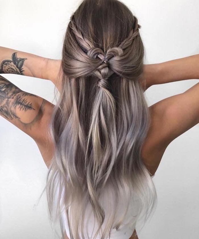 dark blonde hair, ombre hair, braided hairstyles for short hair, heart shaped braid, arm tattoo, white top