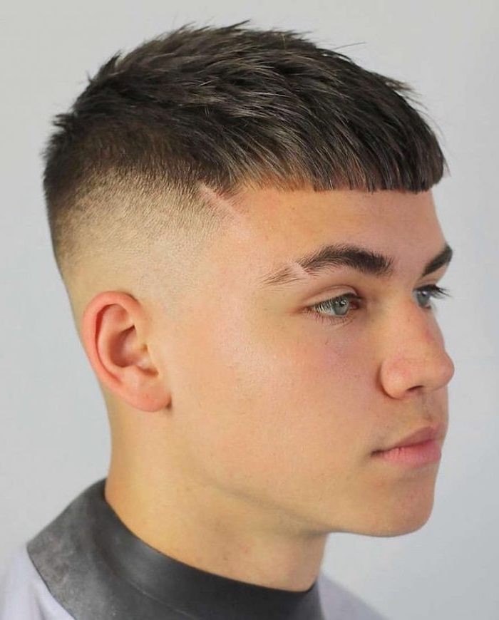 boys fade haircuts, brown hair, blue eyes, white background