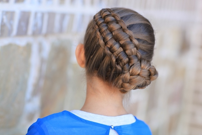 braided brown hair, side braided bun, blue shirt, how to braid hair, little girl