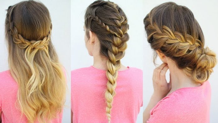 three different hairstyles, how to braid hair, ombre hair, pink shirt, side by side photos