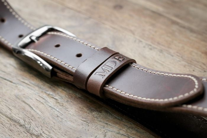 brown leather belt, personalised with initials, cool groomsmen gifts, wooden background