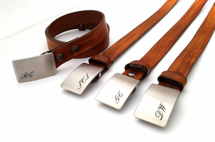 brown leather belts, metal belt buckles, personalised with initials, unique groomsmen gifts