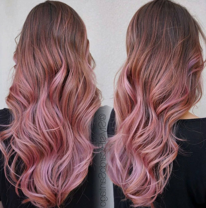 how to ombre hair, brown to rose gold hair, black shirt, white background, side by side photos