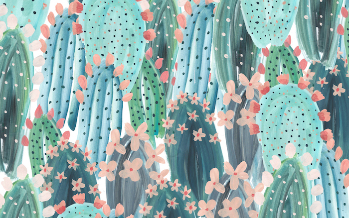 colored drawing, green cactuses, blooming pink flowers, cute wallpapers 2019