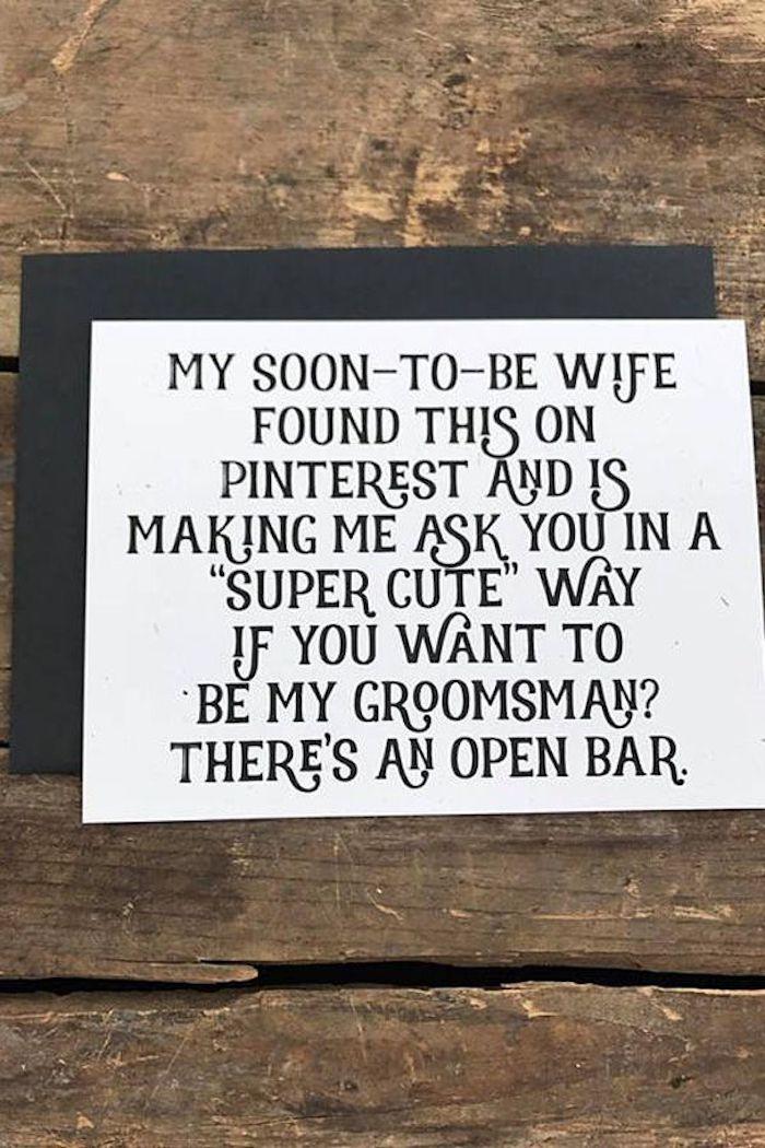 wooden background, funny card, unique groomsmen gifts, black envelope