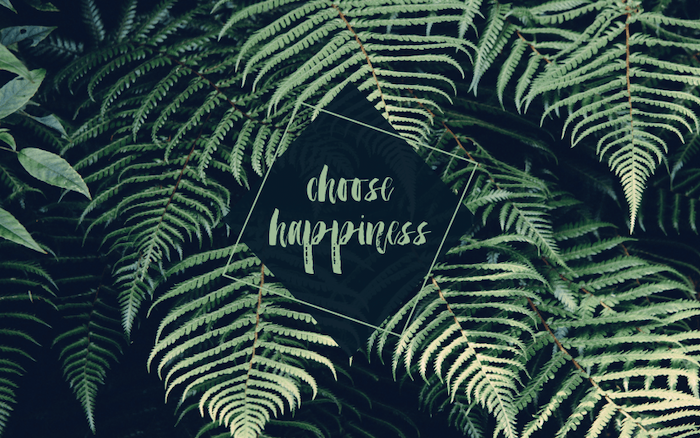 choose happiness, green palm leaves, cute wallpapers 2019, black background