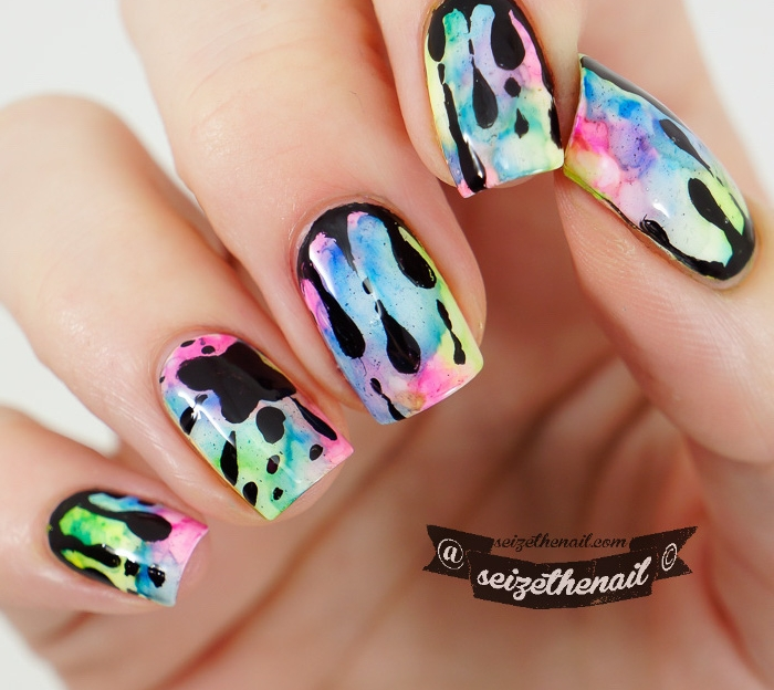 fall nail designs, colorful warercolor, black splashes, blue and pink, green and purple