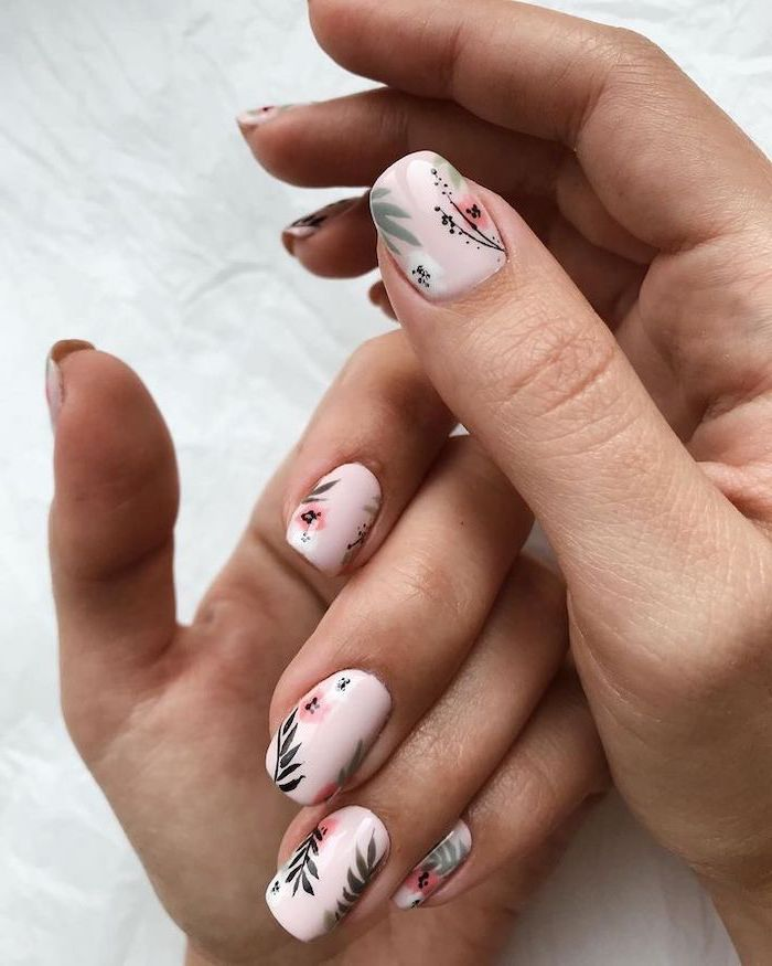 pink nail polish, pink flowers, green leaves, fall nail designs, white background