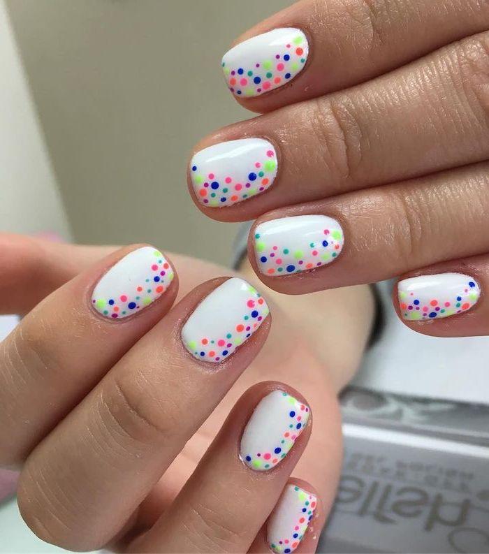 white nail polish, colorful dots, fall nail designs, short nails