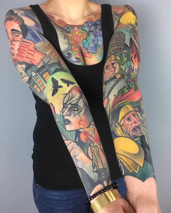 half sleeve tattoos for men, coloured tattoos, on both arms, chest tattoos, black top