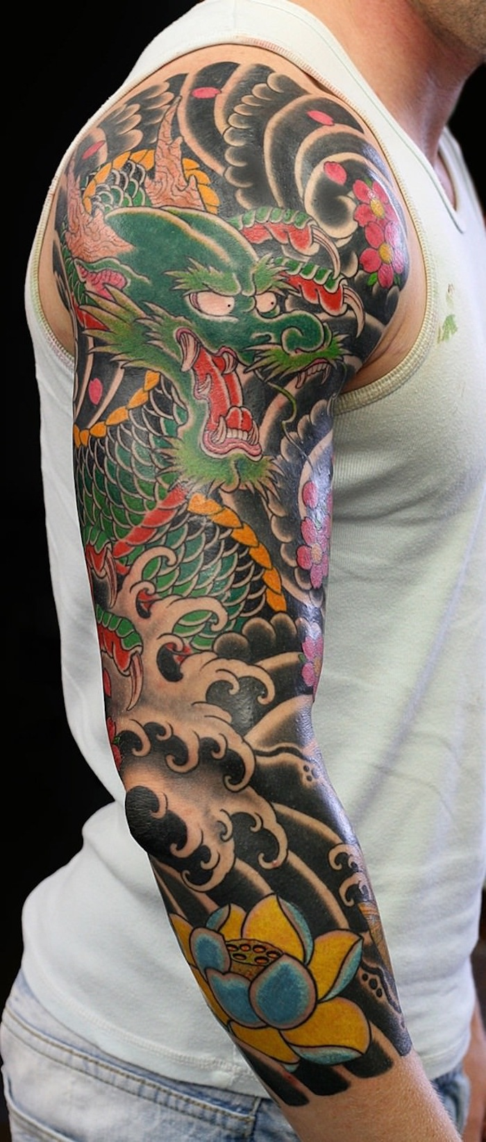 japanese dragon, coloured tattoo, white top, black background, half sleeve tattoos for men