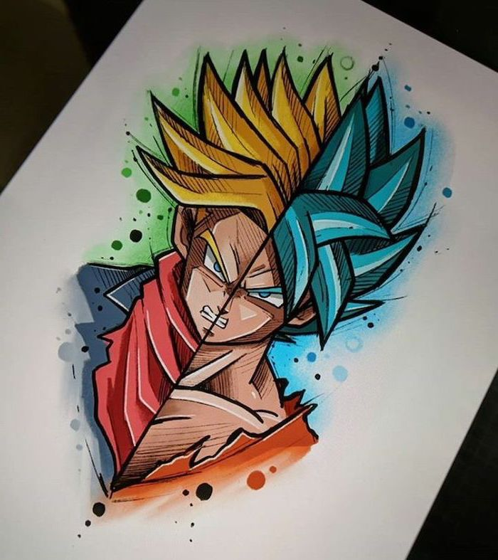 split drawing, colourful drawing, easy anime drawings, anime characters