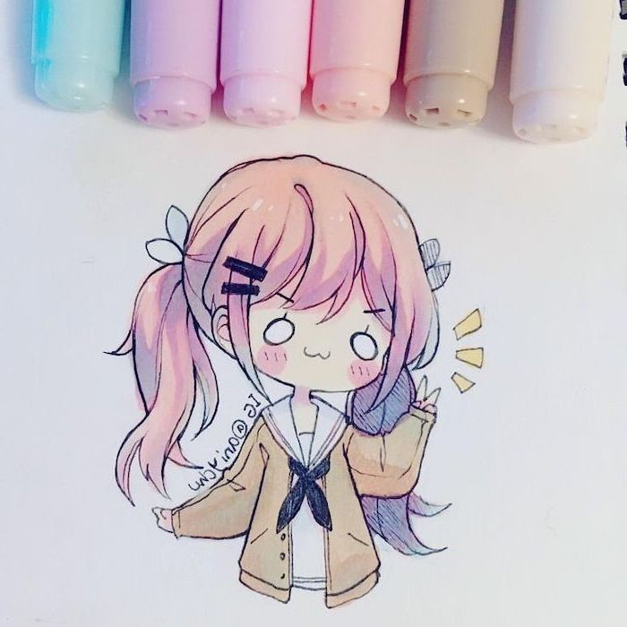 little girl, colourful drawing, how to draw anime face, pink hair, yellow jacket