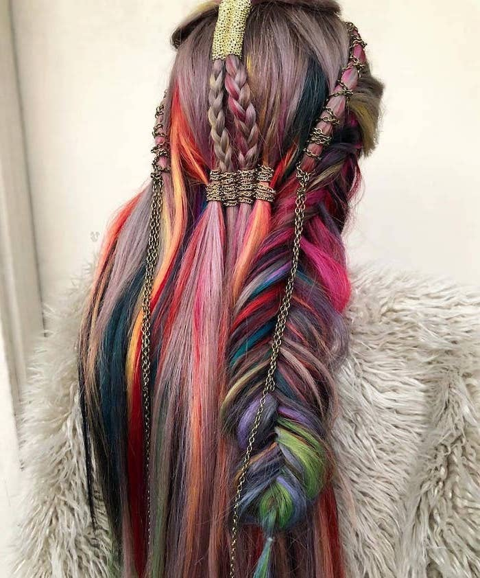 colourful rainbow hair, different braids, with beads and chains, braided hairstyles for short hair
