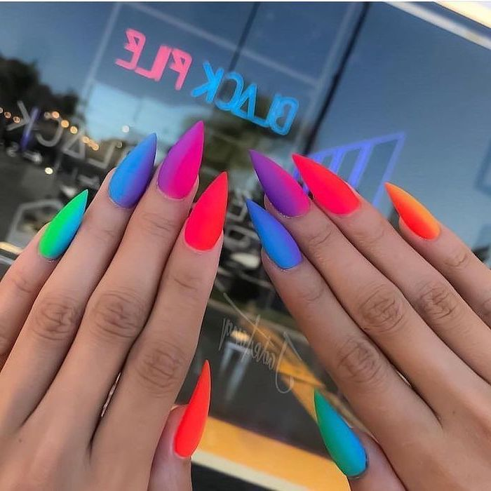 long stiletto nails, rainbow colors, from cold to warm, ombre effect, fall nail designs